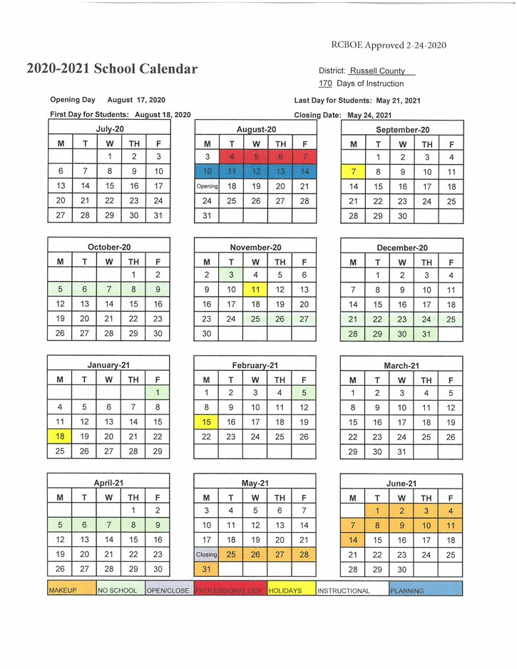 2020-2021 School Calendar no Saturday RCBOE Approved 2-24-2020